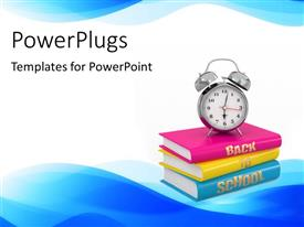 PowerPlugs: PowerPoint template with a collection of books with white background
