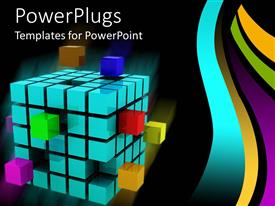PowerPlugs: PowerPoint template with a collection of boxes of blue color along with few boxes of different colors