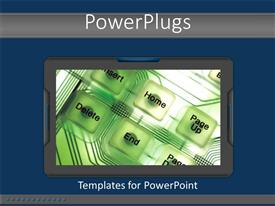 PowerPoint template displaying a collection of buttons with bluish background