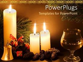 PowerPoint template displaying a collection of candles burning with brown background