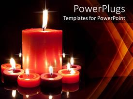 PowerPoint template displaying a collection of candles with dark background