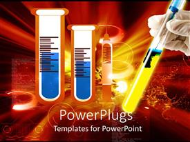 PowerPlugs: PowerPoint template with a collection of chemicals along with one being held by a hand