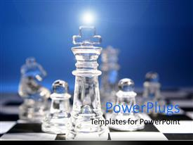 PowerPlugs: PowerPoint template with a collection of chess pieces made of glass on  chess board.