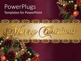PowerPlugs: PowerPoint template with a collection of Christmas celebration material with golden banner