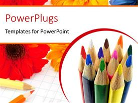 PowerPlugs: PowerPoint template with a collection of color pecils with flowers in the background