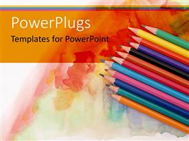 PowerPlugs: PowerPoint template with a collection of color pencils with multi-colored background