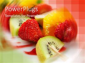 PowerPlugs: PowerPoint template with a collection of different  fruits with multi colored background