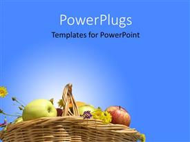 PowerPoint template displaying collection of different healthy fruits in basket on blue background