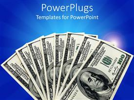 PowerPlugs: PowerPoint template with a collection of dollar notes with blue background
