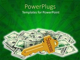 PowerPlugs: PowerPoint template with a collection of dollar notes with a key on top of them