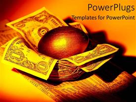 PowerPlugs: PowerPoint template with a collection of dollar notes in the nest with a golden egg on top