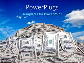 PowerPlugs: PowerPoint template with a collection of dollar notes with sky in the background