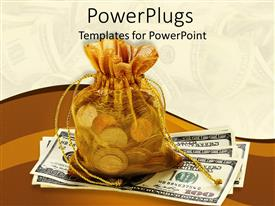 PowerPlugs: PowerPoint template with a collection of dollars along with a bag full of coins