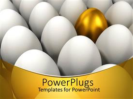 PowerPoint template displaying a collection of eggs with a golden one in the middle