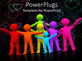 PowerPoint template displaying a collection of figures in different colors celebrating and loving each other