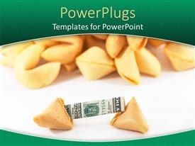 PowerPoint template displaying a collection of fortune cookie with dollar note