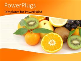PowerPlugs: PowerPoint template with collection of fresh and healthy fruits over orange color background