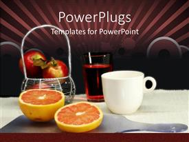 PowerPlugs: PowerPoint template with a collection of fruits and wine in a glass