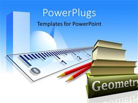 PowerPoint template displaying a collection of geometry books with pencils and ruler