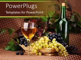 PowerPoint template displaying a collection grapes, plant and wine in the background