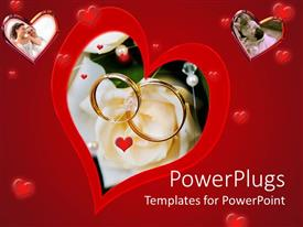 PowerPlugs: PowerPoint template with a collection of hearts with the bigger one having engagement rings in the middle