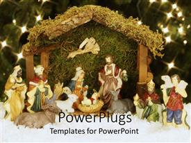PowerPoint template displaying a collection the holy figures for Christians under a Christmas tree