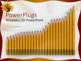 PowerPoint template displaying a collection of lead pencils in the form if a graph
