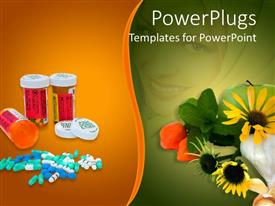 PowerPlugs: PowerPoint template with a collection of medicines and flowers with multicolored background