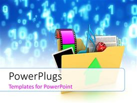 PowerPlugs: PowerPoint template with a collection of music related items with bluish background