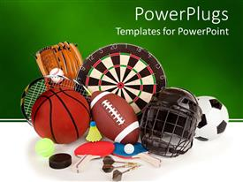 PowerPlugs: PowerPoint template with a collection of a number of sports item, from football to basketball