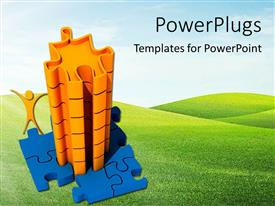 PowerPlugs: PowerPoint template with a collection of puzzle pieces with greenery in the background