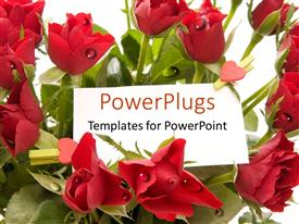 PowerPoint template displaying a collection of red roses with small red hearts and place for text