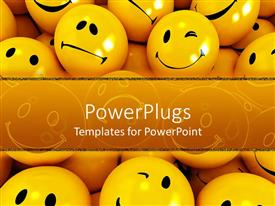 PowerPoint template displaying a collection of smileys with place for text