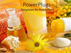 PowerPlugs: PowerPoint template with a collection of spa products with blurred background
