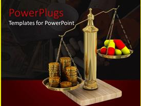 PowerPoint template displaying a collection of tablets and coins with money in the background