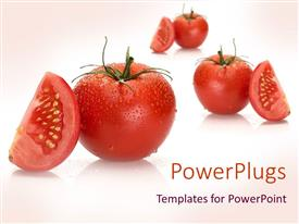 PowerPlugs: PowerPoint template with a collection of tomatoes and their pieces with pinkish background