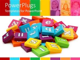 PowerPlugs: PowerPoint template with a collection various alphabets in the form of boxes with kids in the background