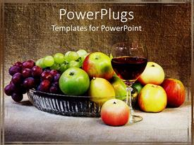PowerPoint template displaying a collection of various fruits including apples and grapes with a glass of wine