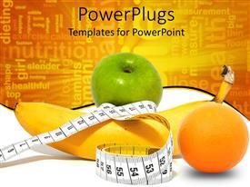 PowerPoint template displaying a collection of various fruits and a measuring tape