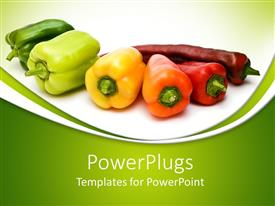 PowerPlugs: PowerPoint template with a collection of various kinds of peppers placed together with green background