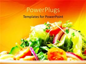 PowerPlugs: PowerPoint template with a collection of various vegetables with orange background
