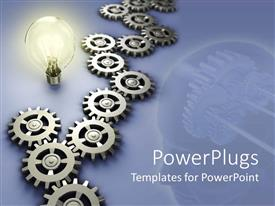 PowerPoint template displaying a collection of the working parts of a machine along with a bulb