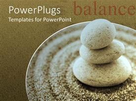 PowerPoint template displaying a collection of zen stones along with sand grains with brown background