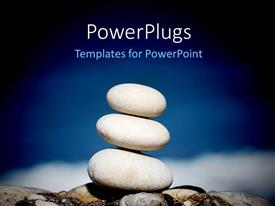 PowerPlugs: PowerPoint template with a collection of zen stones with sky in the background
