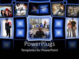 PowerPlugs: PowerPoint template with college graduation student success education collage black