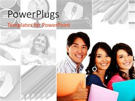 PowerPlugs: PowerPoint template with college students smiling with books, black and white education collage with mouse, pencils