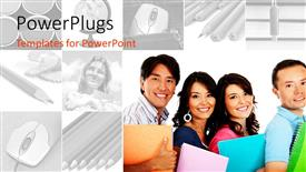 PowerPoint template displaying college students smiling with books, black and white education collage with mouse, pencils