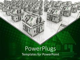 PowerPlugs: PowerPoint template with a colony made up of dollar note houses along with their reflection in the bottom