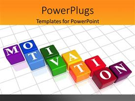 PowerPoint template displaying color boxes over white background with text - Motivation