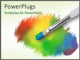 PowerPoint template displaying color  palette having a paint brush with rainbow colors